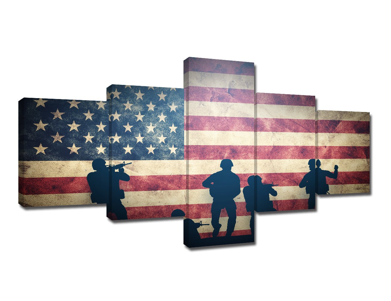 TUMOVO Military Wall Art American Soldier Pictures US Grunge Flag Paintings 5 Piece Canvas Modern Artwork Home Decor for Living Room Giclee Framed Gallery-Wrapped Stretched Ready to Hang(50''Wx24''H)