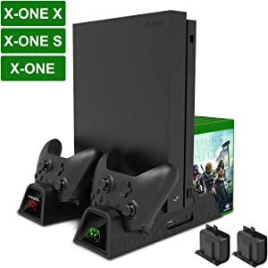 Vertical Cooling Stand, Megadream Xbox One Dual Controller Charging Docking Station Dock Cooler for Xbox One/ Xbox One S /Xbox One X Console & 2 Pack 600mAh Batteries & 12 Game Disc Storage