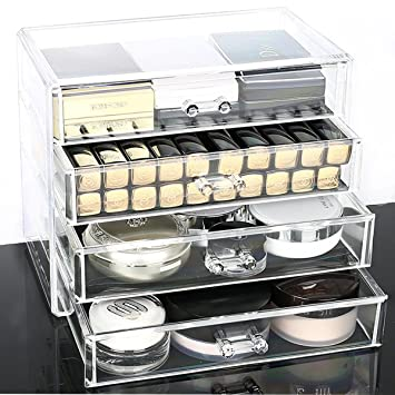 Hqdeal Acrylic Transparent Cosmetic Make Up Organiser Holder With  Drawers Extra Wide And Larger Space