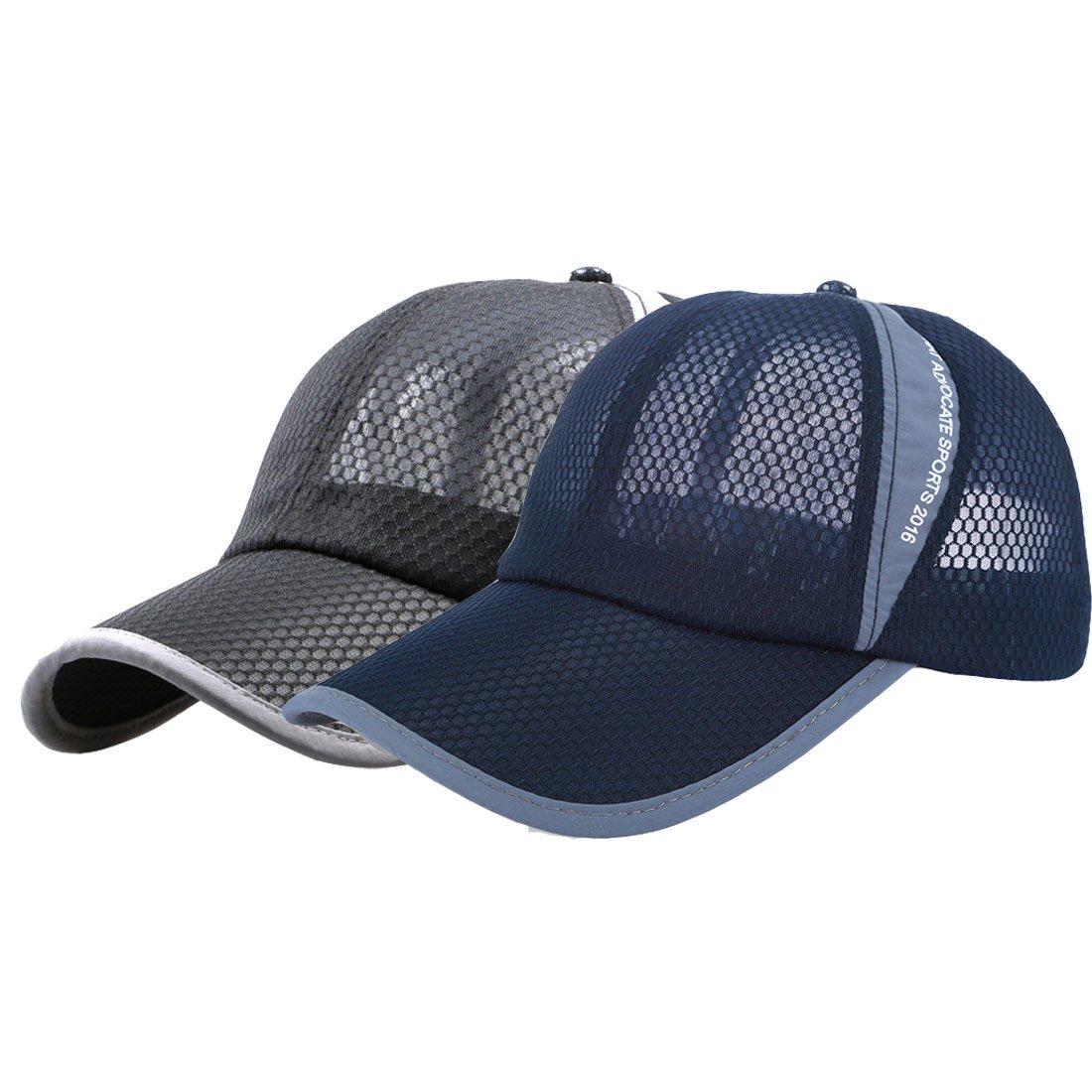 King Star 2 Pack Men Women Summer Mesh Breathable Adjustable Snapback Baseball Cap Sports Hat Dark Blue+Black
