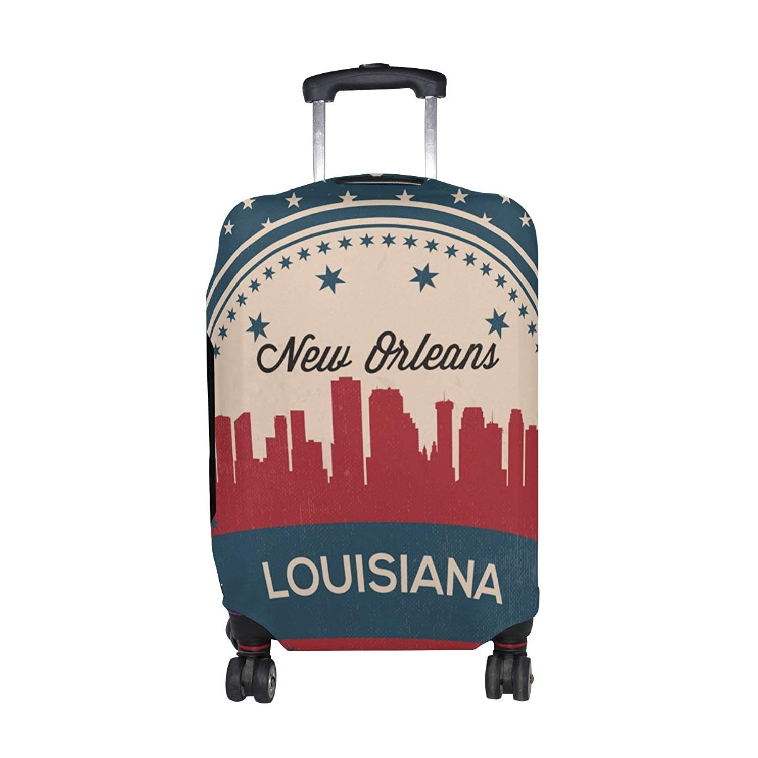 Vintage American Flag Louisiana State New Orleans Skyline Luggage Cover Travel Suitcase Protector Fits 18-21 Inch Luggage