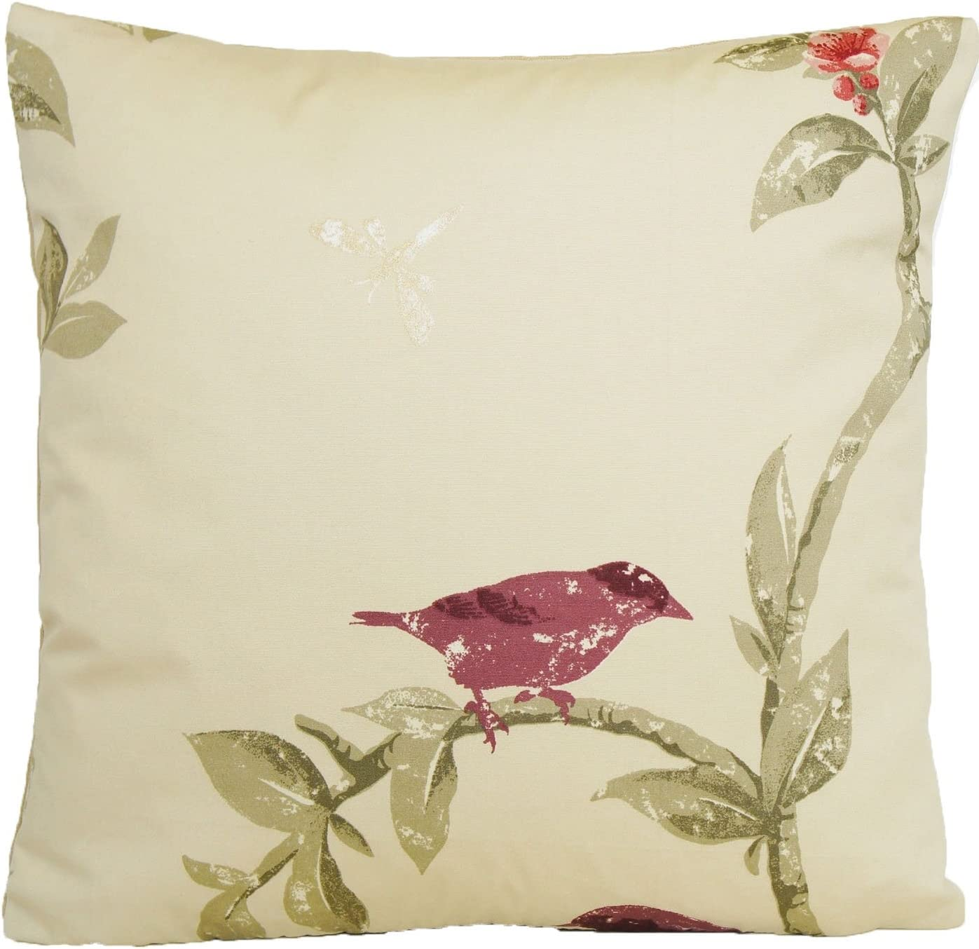 Bird Cushion Cover Tree Branch Throw Pillow Case Nina Campbell Fabric Bird Cage Walk Maroon