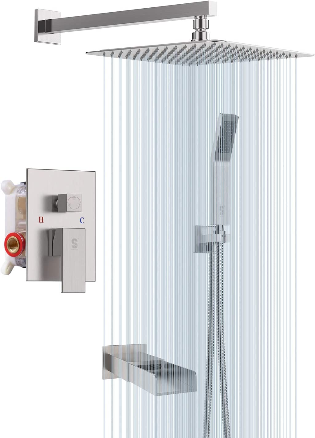 SR SUN RISE Bathroom Luxury Rain Mixer Shower Tub Spout Combo Set Wall Mounted 12 Inches Rainfall Shower Head System Brushed Nickel