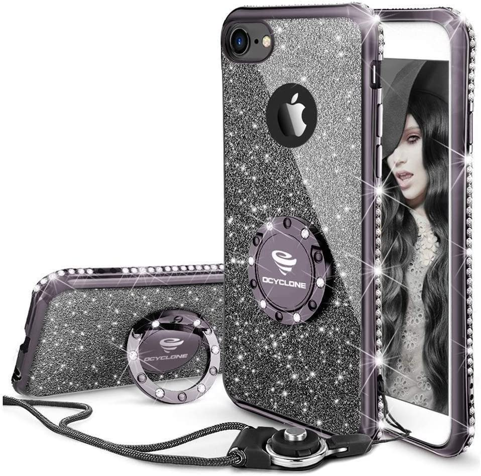 Cute iPhone 6s Case, Cute iPhone 6 Case, Glitter Luxury Bling Diamond Rhinestone Bumper with Ring Grip Kickstand Protective Thin Girly iPhone 6s Case/iPhone 6 Case for Women Girl - Black
