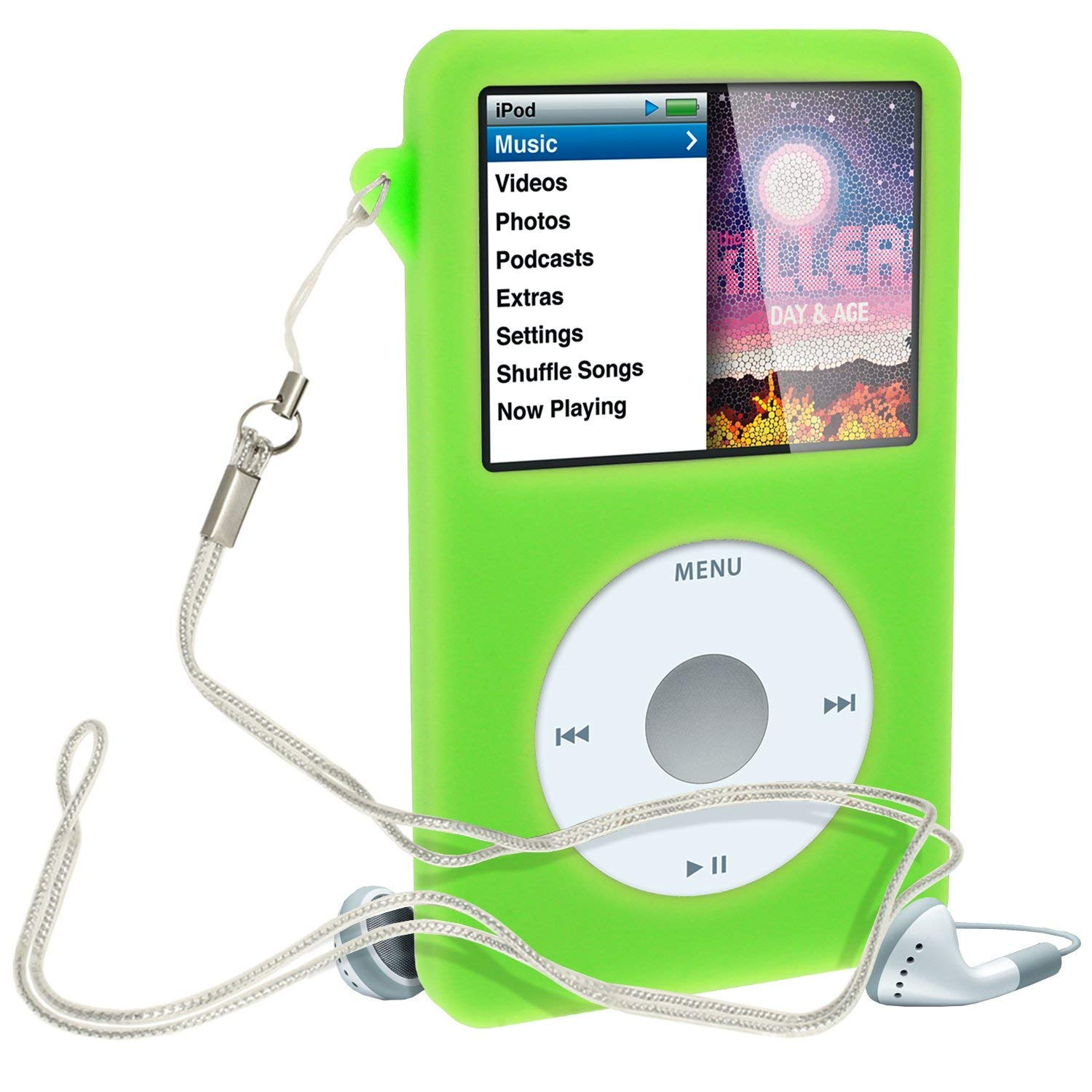 8d9b8a0f472 Amazon.com: iGadgitz Green Silicone Skin Case Cover for Apple iPod Classic  80GB, 120GB & Latest 6th Generation 160gb launched Sept 09 + Screen  Protector ...