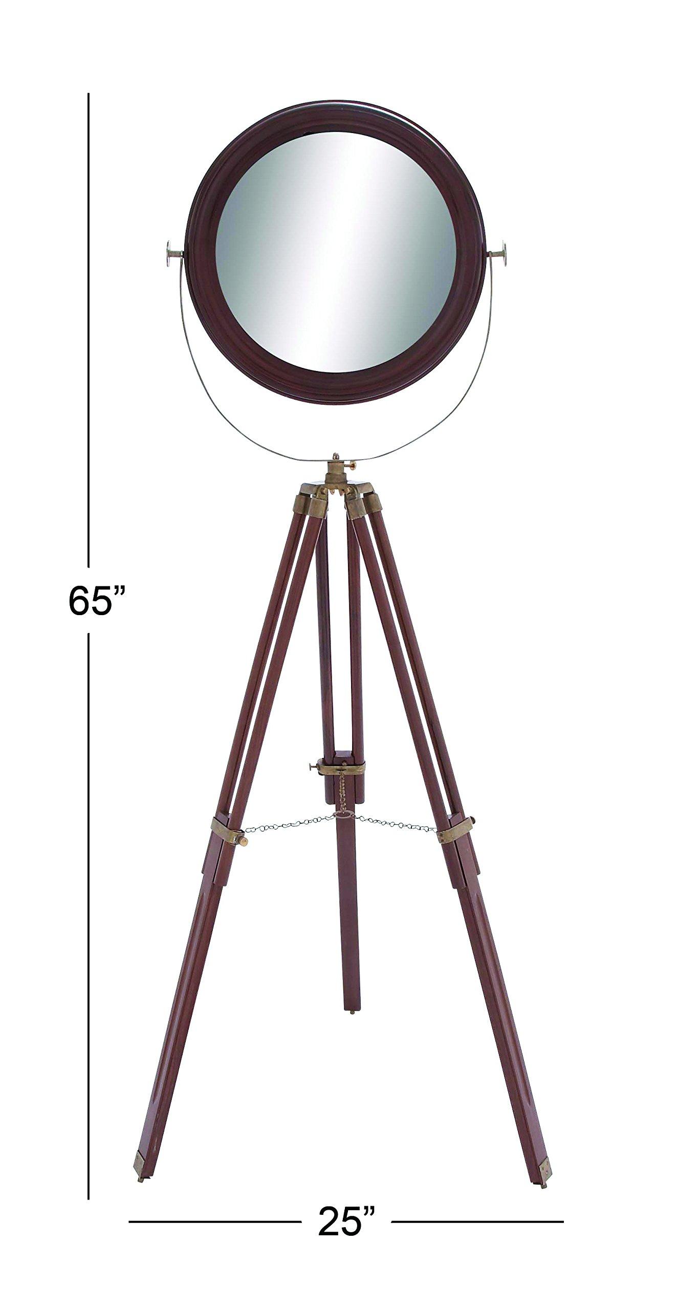 Deco 79 Wood Round Floor Mirror, 25 by 65-Inch