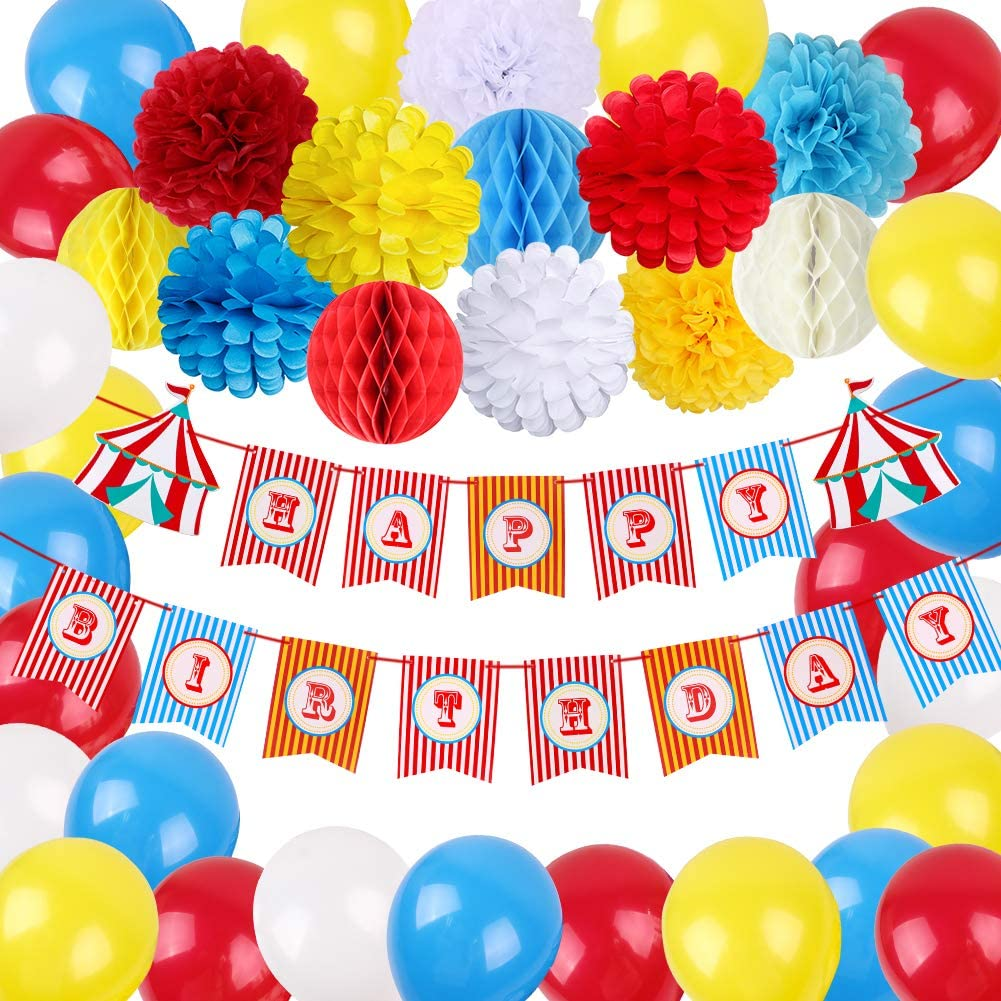 Circus Birthday Party Supplies Carnival Theme Party Decorations Circus Happy Birthday Banner Tissue Paper Pom Poms Flowers Honeycomb Ball Blue Red Yellow Balloons for Birthday Baby Shower Clown Backdrop