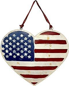 Heart Shaped American Flag Patriotic Sign Metal Hanging Wall Door Rustic Plaque Indoor Outdoor 10
