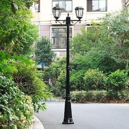 IGLZ Farola Moderna de Energía Solar LED 2 Cabezas Impermeable al Aire Libre de fundición a