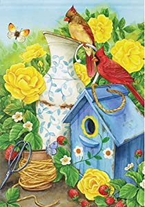 Wamika Spring Summer Bird Garden Flag 12 x 18 Double Sided, Butterfly Strawberry Floral Vase Cardinal Flowers House Yard Flags Welcome Outdoor Indoor Banner for Party Home Decoration