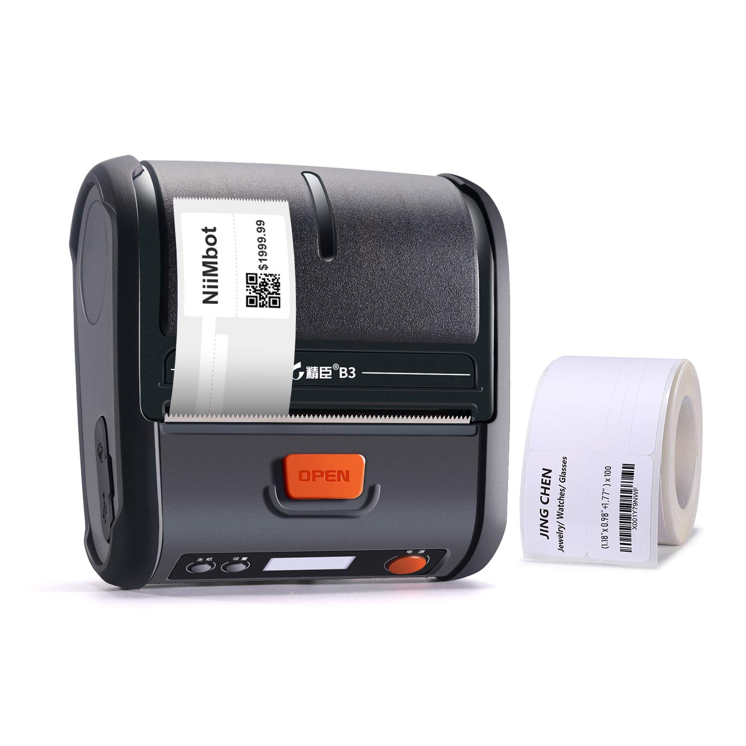 JINGCHEN Portable B3 Thermal Label Printer, Android & iOS, Glasses, Jewelry, Bracelets, Antiques, Barcode.(0.98x1.18+1.77in) 100 Labels/roll, 1 roll for Free