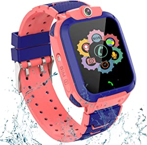 Kids GPS Smart Watch Phone for Boys Girls – Waterproof GPS Locator Smartwatch Phone with 2 Ways Call Camera Voice Chat SOS Alarm Clock Game Pedometer Wristband Gift for Student Birthday, Red