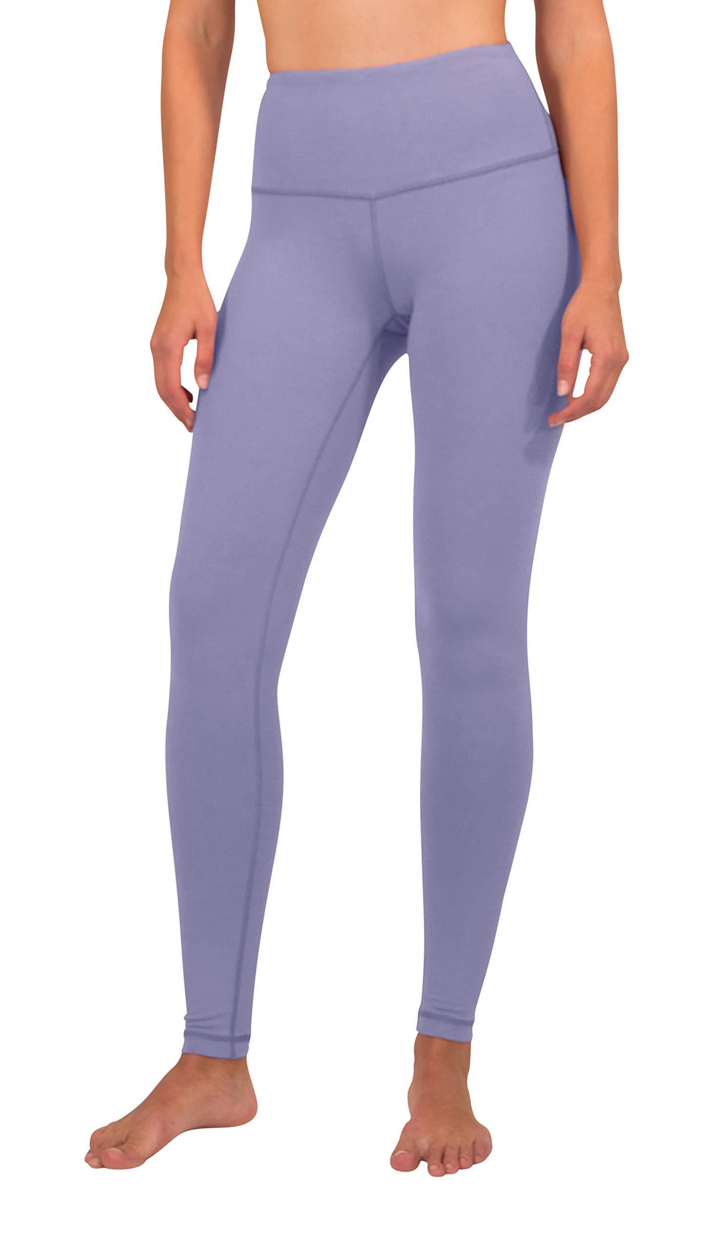 Yogalicious High Waist Ultra Soft Lightweight Leggings - High Rise Yoga Pants- Lilac Mist - XL by Yogalicious