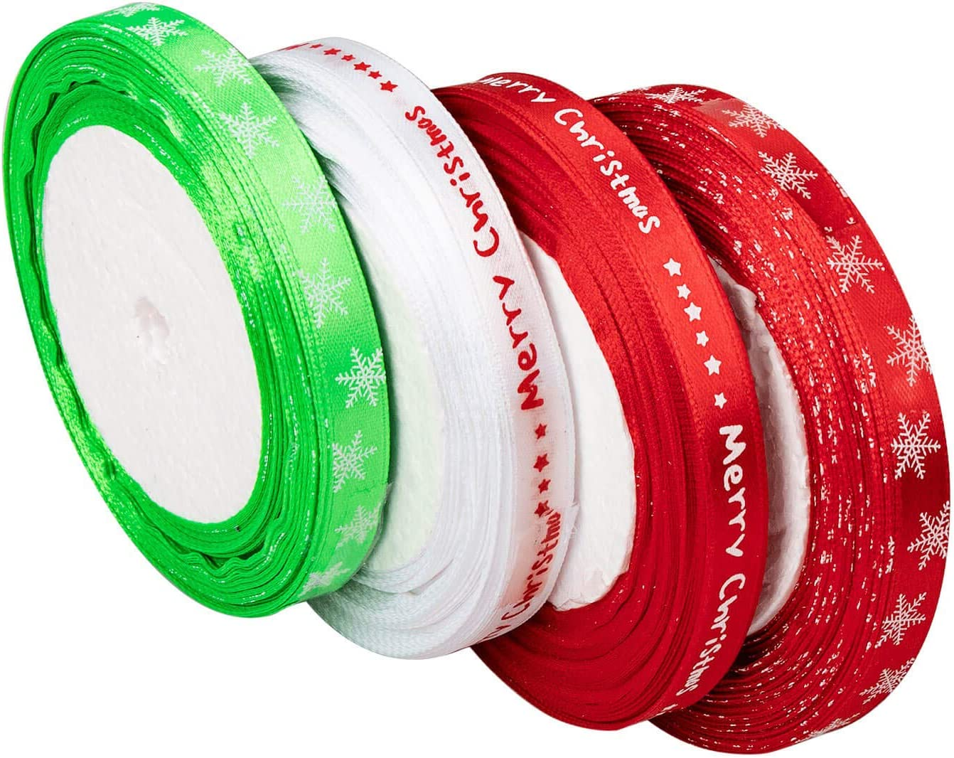 Red christmas ribbon with snowflake or green red white Merry Christmas
