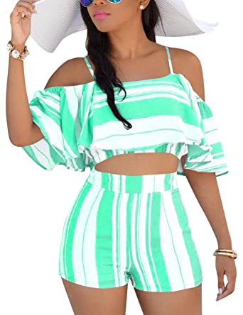 ebae8389f7f0 Vilover Women's 2 Pieces Outfits Print Crop Tee Top with Cute Shorts Outfit  Suit (Green