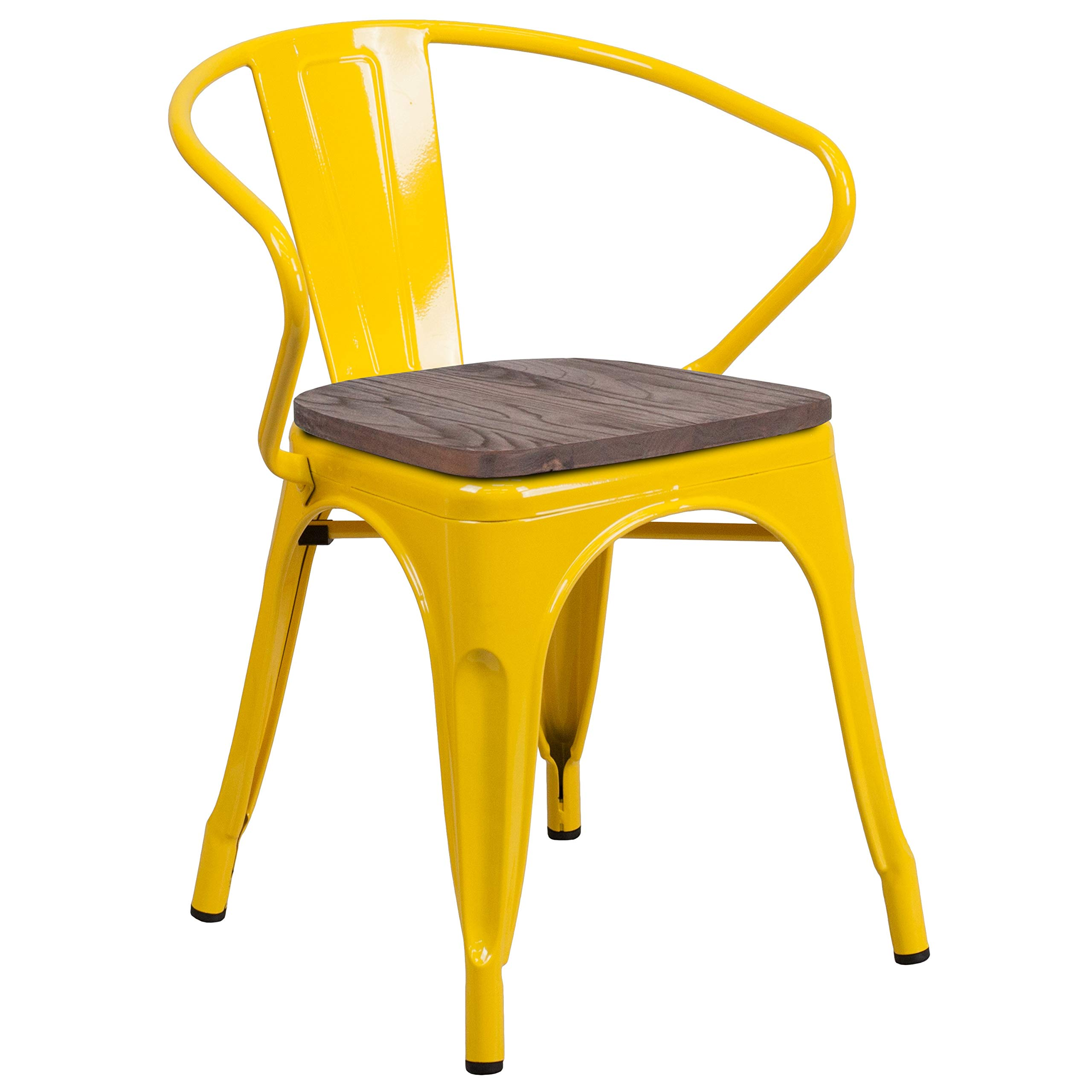 MFO Yellow Metal Chair with Wood Seat and Arms by My Friendly Office