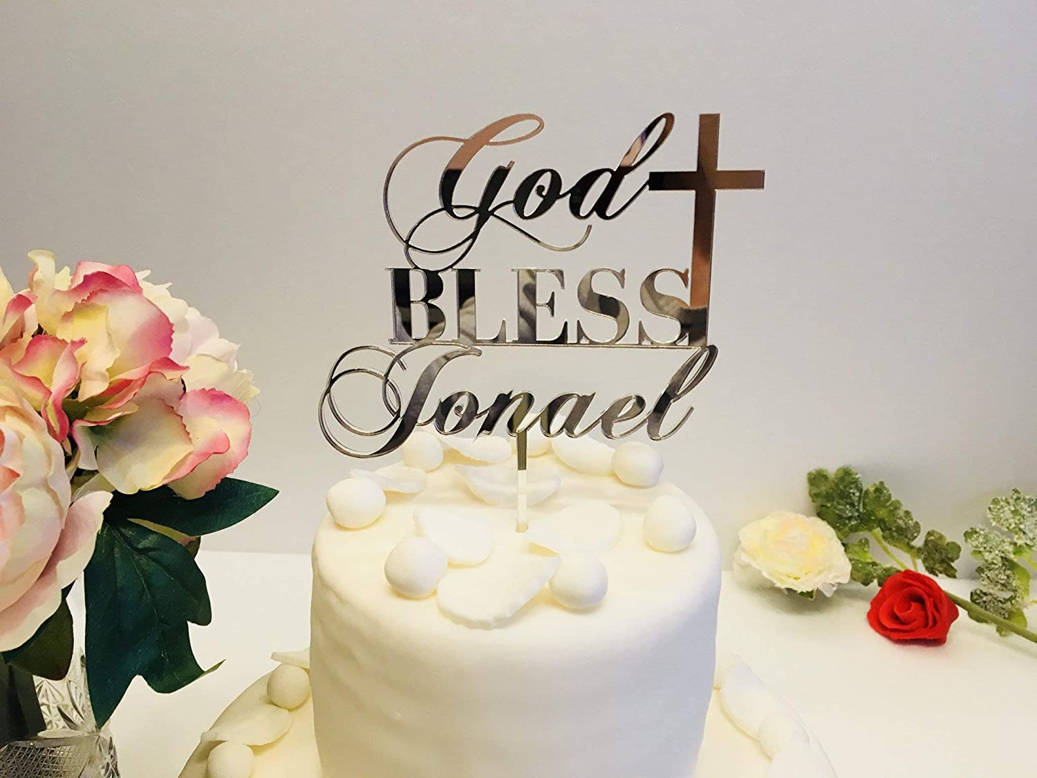 God Bless Name Cake Topper with Cross Any Name Colors Centerpieces Custom Baptism Personalized Christening First Communion Religious Party Decor Baby 1st Holy Communion Blessed Sign Blessing Topper