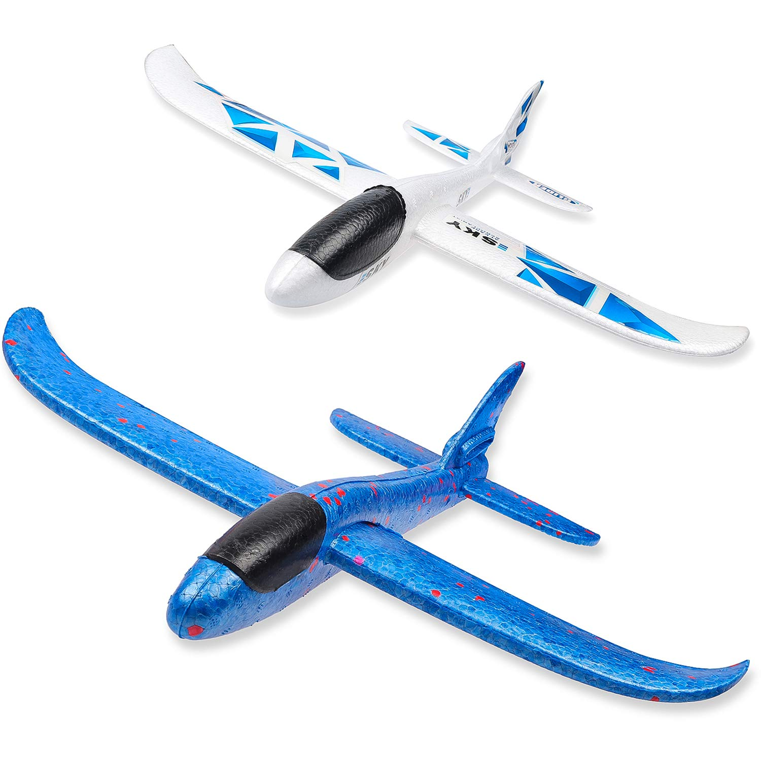 WATINC 2Pcs 17in Airplane, Manual Throwing, Fun, challenging, Outdoor Sports Toy, Model Foam Airplane, Blue & White Airplane (WT-Foam Airplane 2Pcs) by WATINC