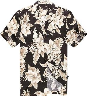 Realizzato in Hawaii Camicia Hawaiiana Uomo Camicia Aloha Palma Floreale del Cluster in Nero