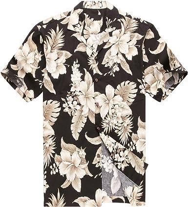 Hecho en Hawaii Camisa Hawaiana de los Hombres Camisa Hawaiana Cluster Floral Palma en Negro: Amazon.es: Ropa y accesorios