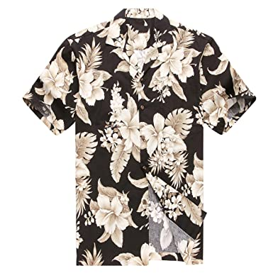 bc0d040d Made in Hawaii Men's Hawaiian Shirt Aloha Shirt Cluster Floral Palm in  Black: Amazon.co.uk: Clothing