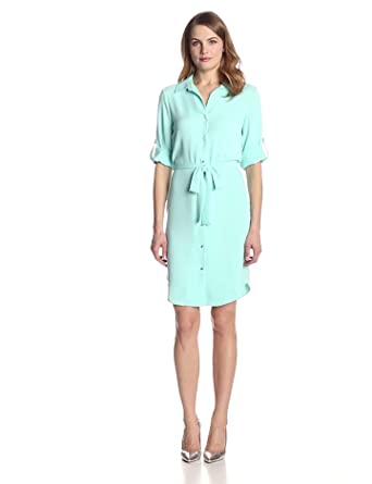 1d75a991eba Calvin Klein Women s Roll-Tab Sleeve Shirtdress at Amazon Women s ...