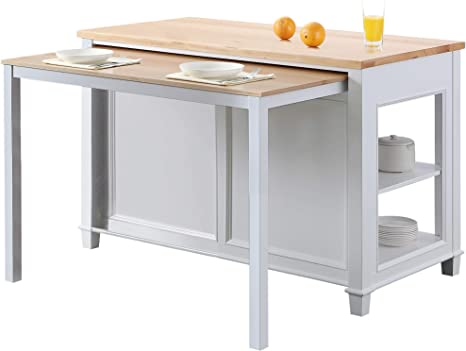 Design Element Kd 01 W Medley 54 Wide Butcherblock Farm House Kitchen Island With Extendable Dinning Table In White No Assembly Needed Home Improvement