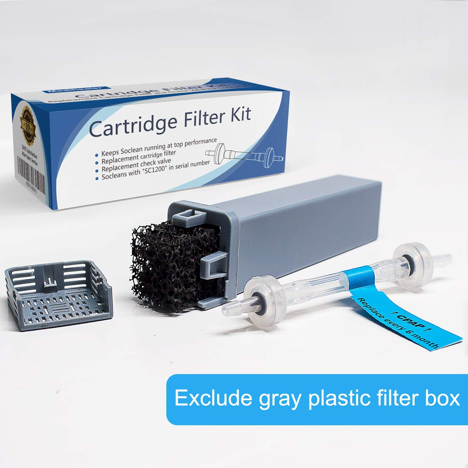 Cartridge Filter Kit for SoClean 2 (SC1200) - 4 Cartridge Replacement Filters + 1 Check Valve - SoClean CPAP Cartridge Filter & Check Valve Replacement Set (Gray Plastic Filter Box NOT Included)
