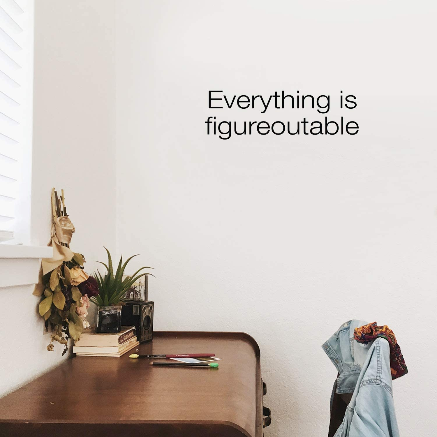 """Vinyl Wall Art Decal - Everything is Figureoutable - 7"""" x 22"""" - Modern Inspirational Life Quote for Home Bedroom Living Room Kitchen Office Workplace Classroom School Decor (Black)"""