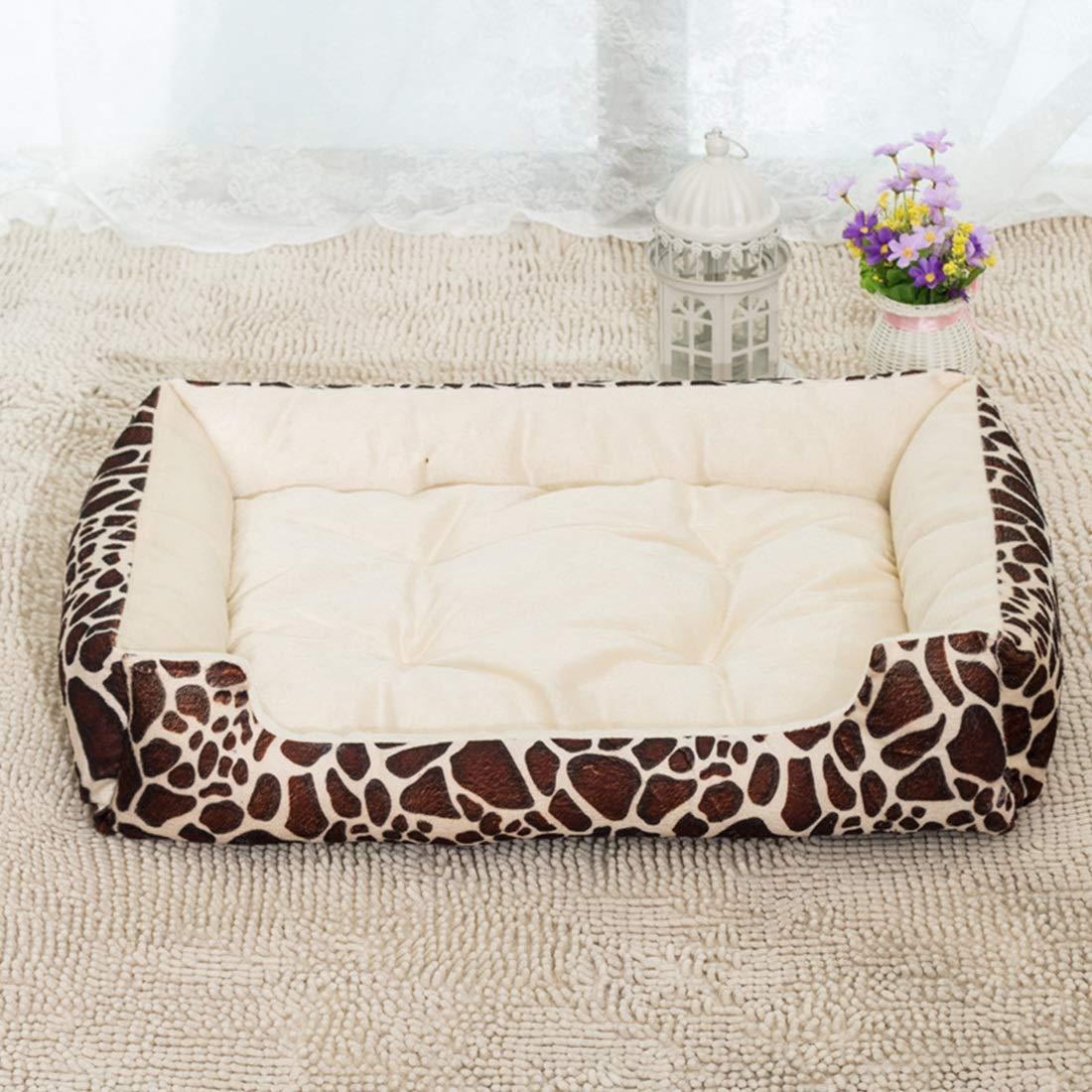 Beige deer L Beige deer L Uzanesx Pet Nest Cat Litter golden Retriever Dog Bed Mat Kennel Pet Supplies (color   Beige deer, Size   L)