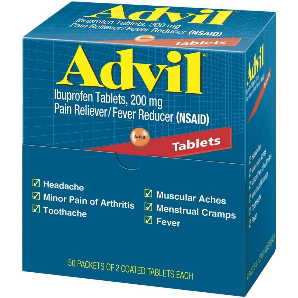 Advil Ibuprofen, 200mg, 50 Packets of 2 Coated Tablets (Pack of 4)