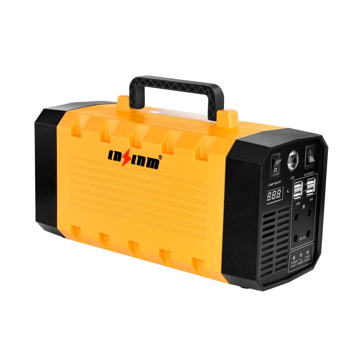 500W Portable Generator Power Inverter, LNSLNM 288Wh/90,000mAh Camping CPAP Battery Backup Home Power Source Charged by Solar Panel/Wall Outlet/Car with Dual 110V AC Outlet, 4 DC 12V Ports, USB Ports by LNSLNM (Image #1)