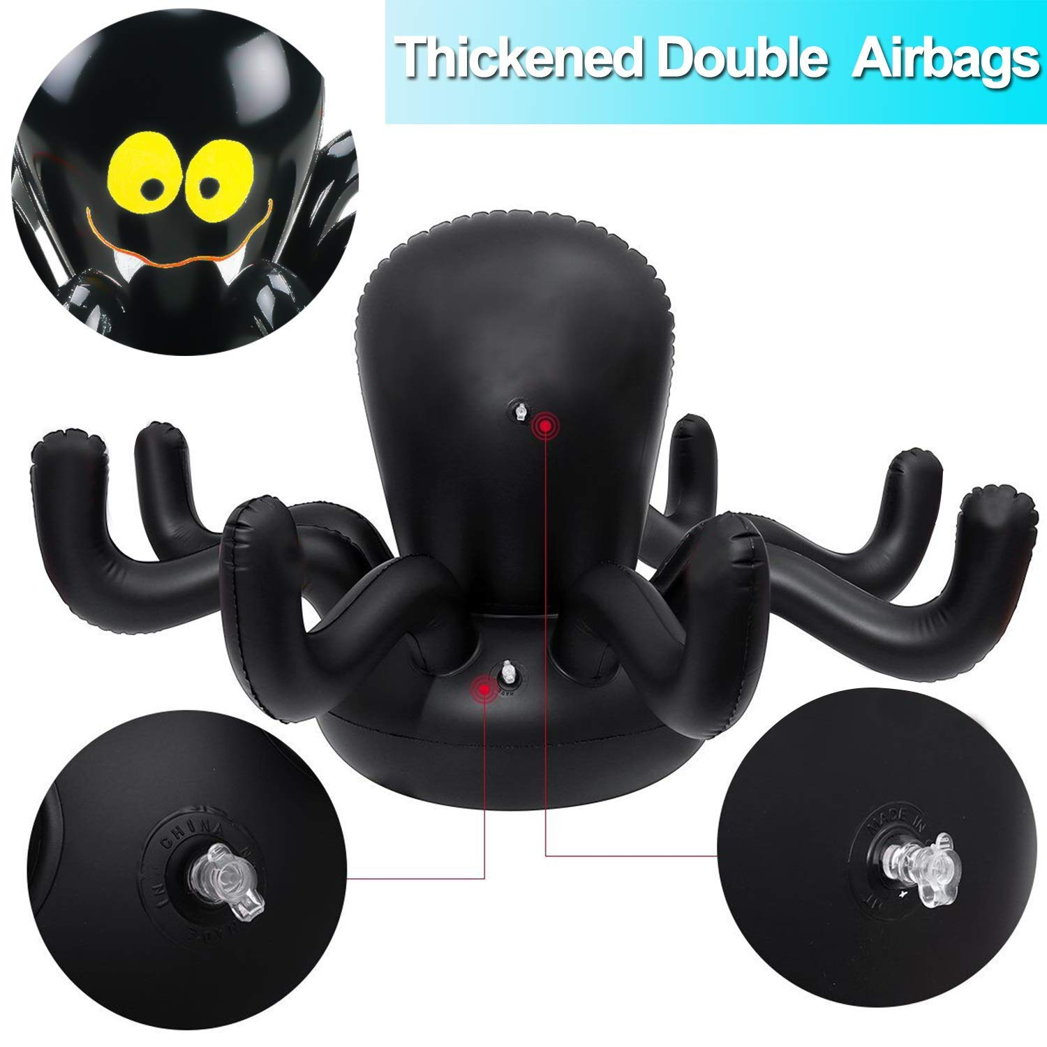 Spider Ring Christmas Inflatable Spider Ring Toss Game Set with 4 Rings-Halloween Party Decoration Supplies for Kids