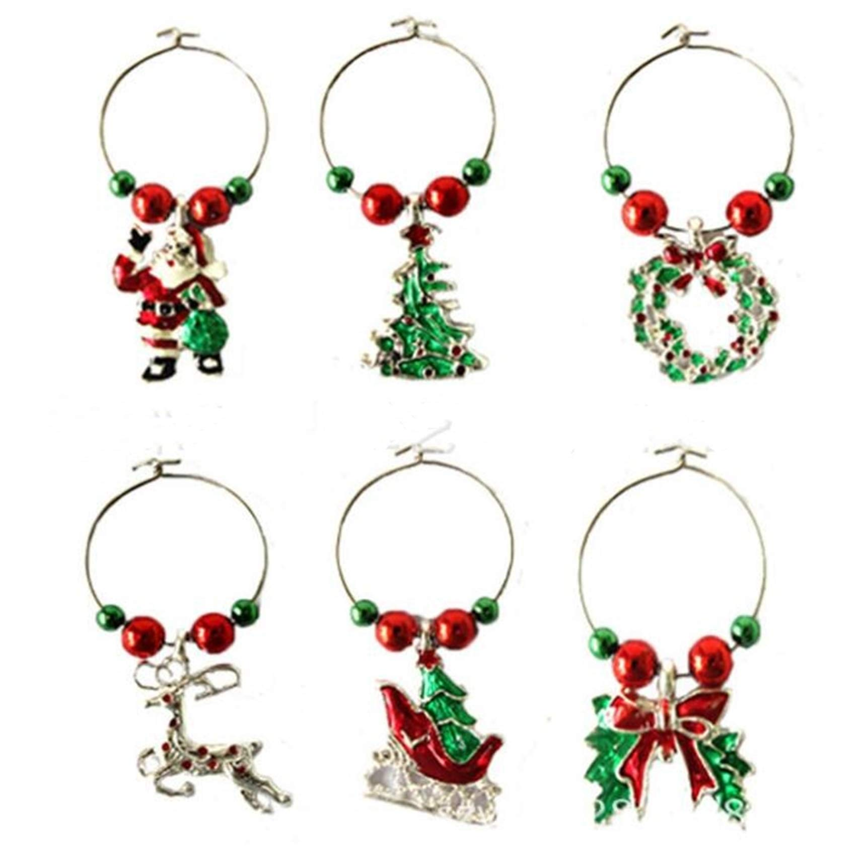 Yesiidor Wine Glass Charms,Fashion Xmas Wine Glass Markers Meatal Drink Tags for Christmas Table Glass Decoration