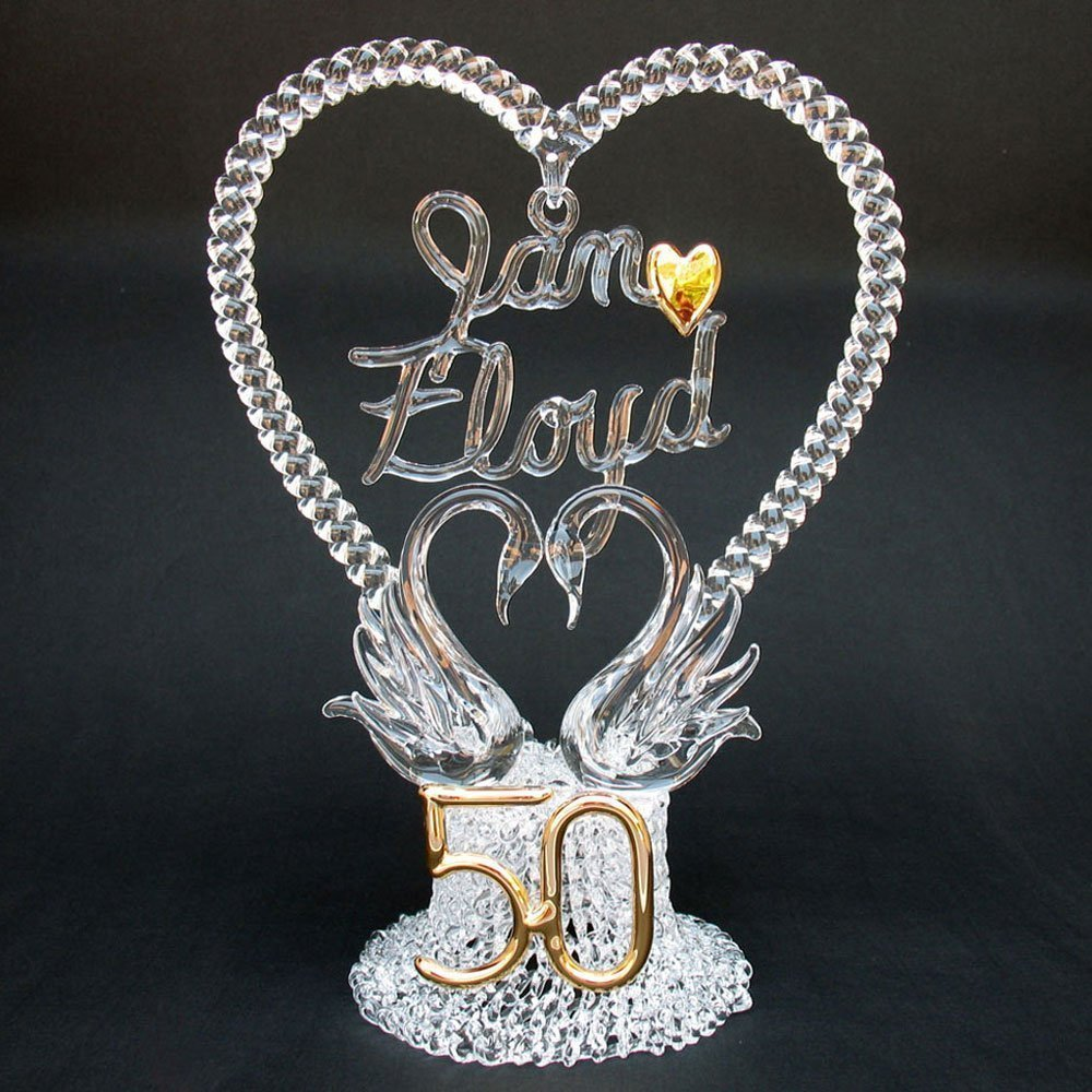 Personalized 50th Wedding Anniversary Cake Topper of Hand Blown Glass with Swans