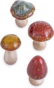 FICITI Ceramic Mushrooms Figurine Garden Decor, Lawn Mushrooms Decor, Garden Pots Decoration, Set of 4, 3 Inches High