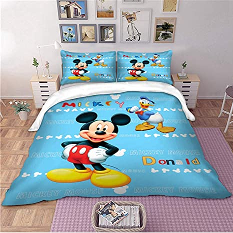 Shez Beauty Disney Mickey Mouse Bedding Set Donald Blue Color Duvet Cover Pillow Cases Twin Full Queen King Double Size 3pcs Twin 173218cm Amazon Ca Home Kitchen