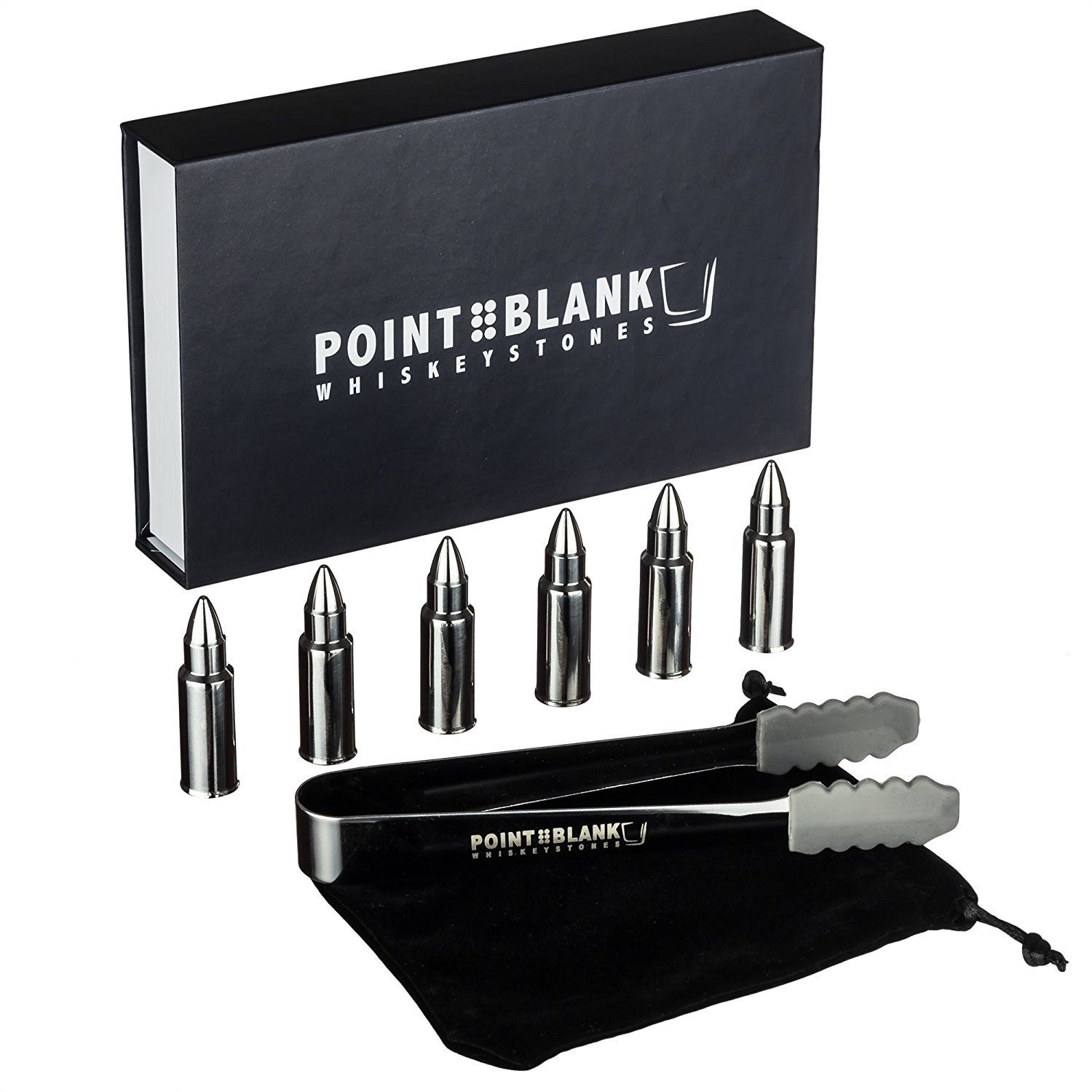 Pointblank Stainless Steel Bullet Shaped Whiskey Stones, Reusable, Stainless Steel Drink Chillers with Tongs and Storage Bag (Set of 6) COMIN18JU088228