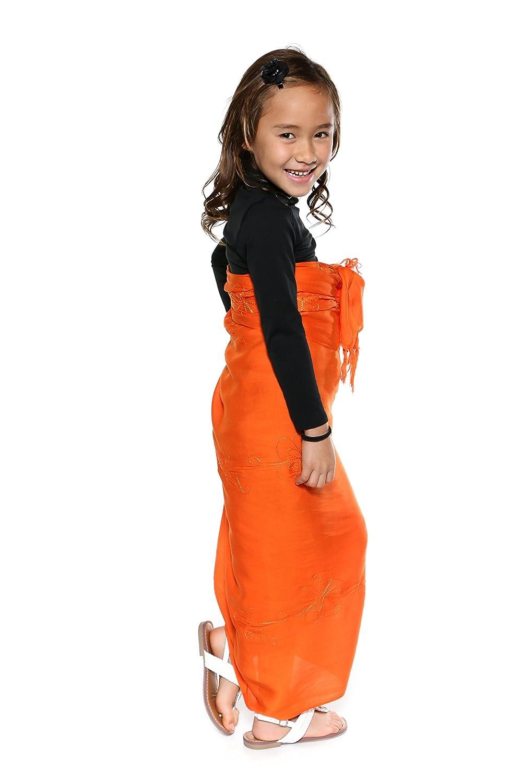 1 World Sarongs Girls Embroidered Solid Color Sarong