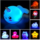 Jomyfant Bath Toys (8 Packs Rubber Animals Toys) Light Up Floating Rubber Toys Flashing Color Changing Light in Water Bathtub