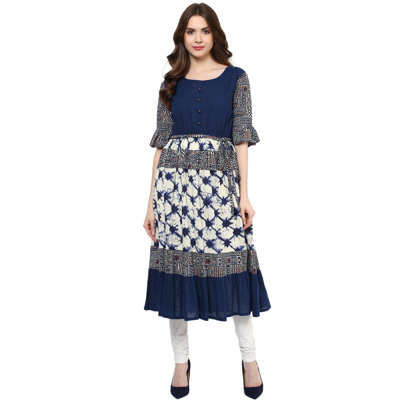 Indian Virasat Womens Printed Anarkali Kurti Tunic With Calf Length Medium Blue