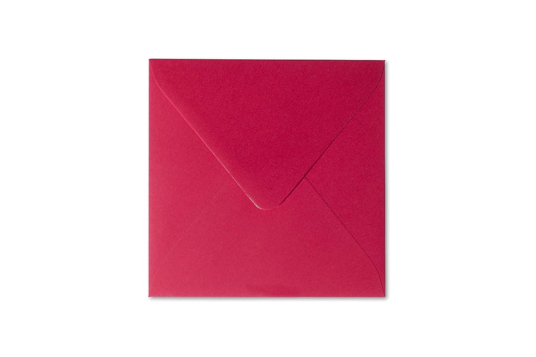 25 Quadratische Briefumschl/äge 15 x 15 cm 150 x 150 mm Rosen Rot Verschluss feuchtklebend Grammatur 120 g//m/²