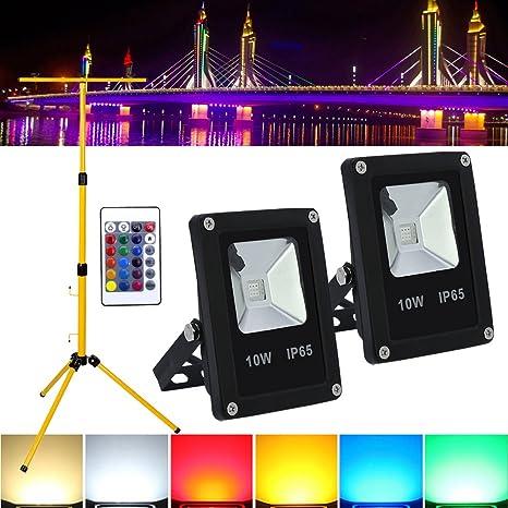 LED Fluter mit Teleskop-Stativ Strahler Objektbeleuchtung IP65 10W-50W RGB