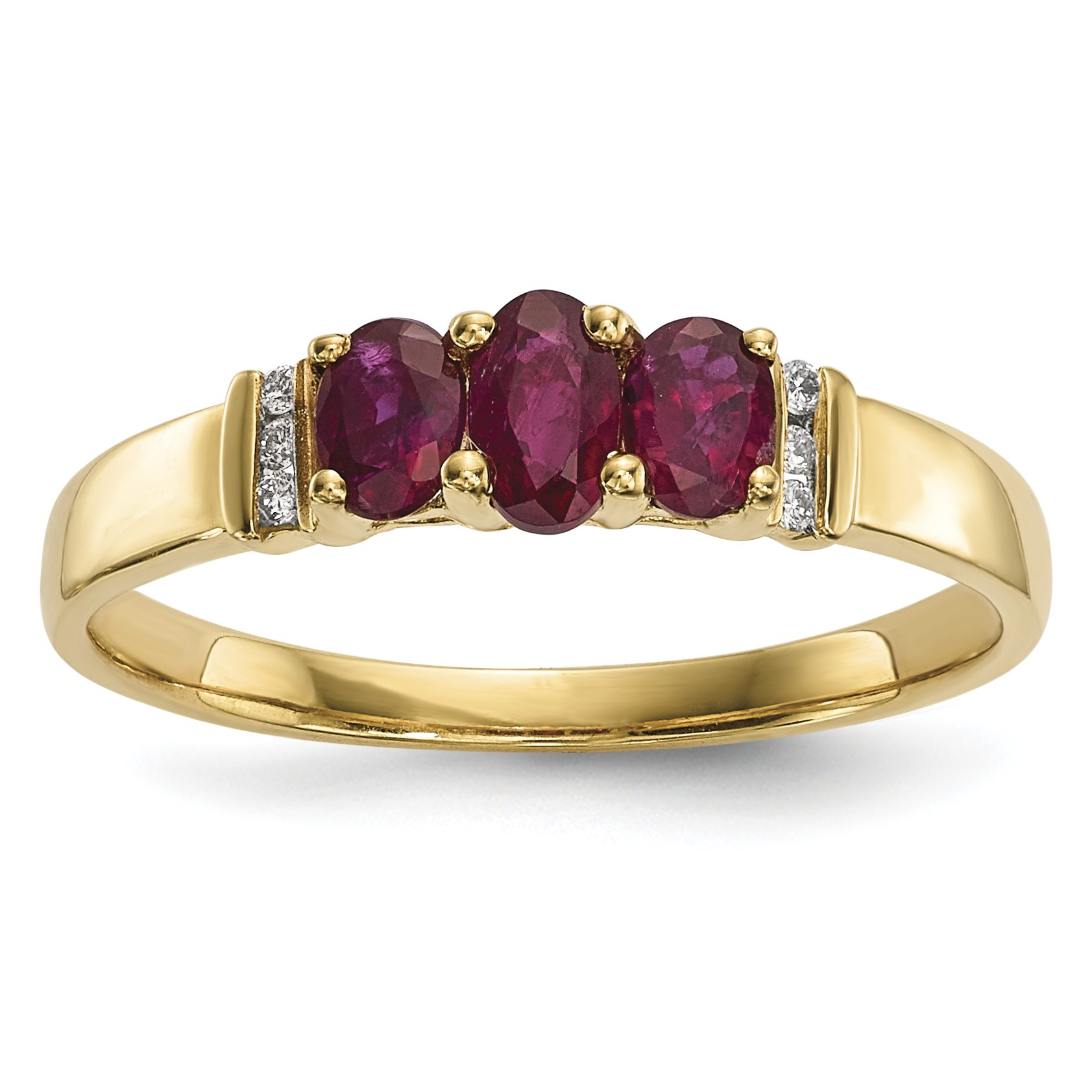 ICE CARATS 14k Yellow Gold Triple Red Ruby Diamond Band Ring Size 7.00 Gemstone Fine Jewelry Gift Set For Women Heart