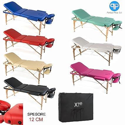 Lettino Da Massaggio 3 Zone Legno Portatile Confort Cuscino 8 Cm
