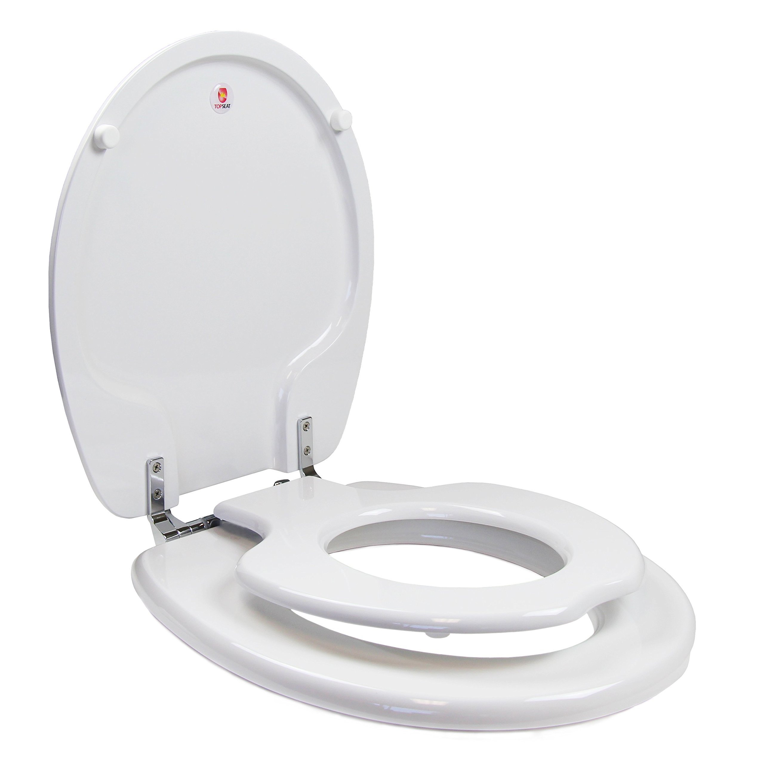 TOPSEAT TinyHiney Potty Toilet Seat, Adult/Child with Chromed Metal Hinges, Wood, Round, White