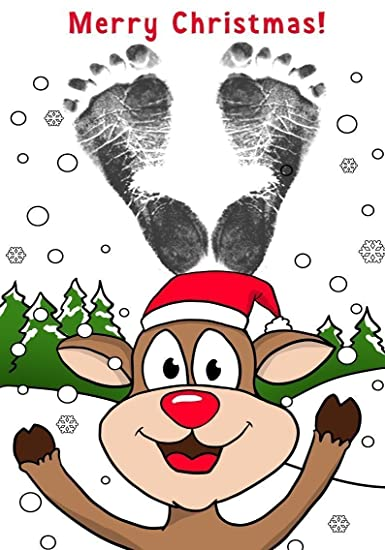 Delightful ReignDropBabyu0027s Baby Footprints Cards Making Kit With Ink Pad   Reindeer Christmas  Cards
