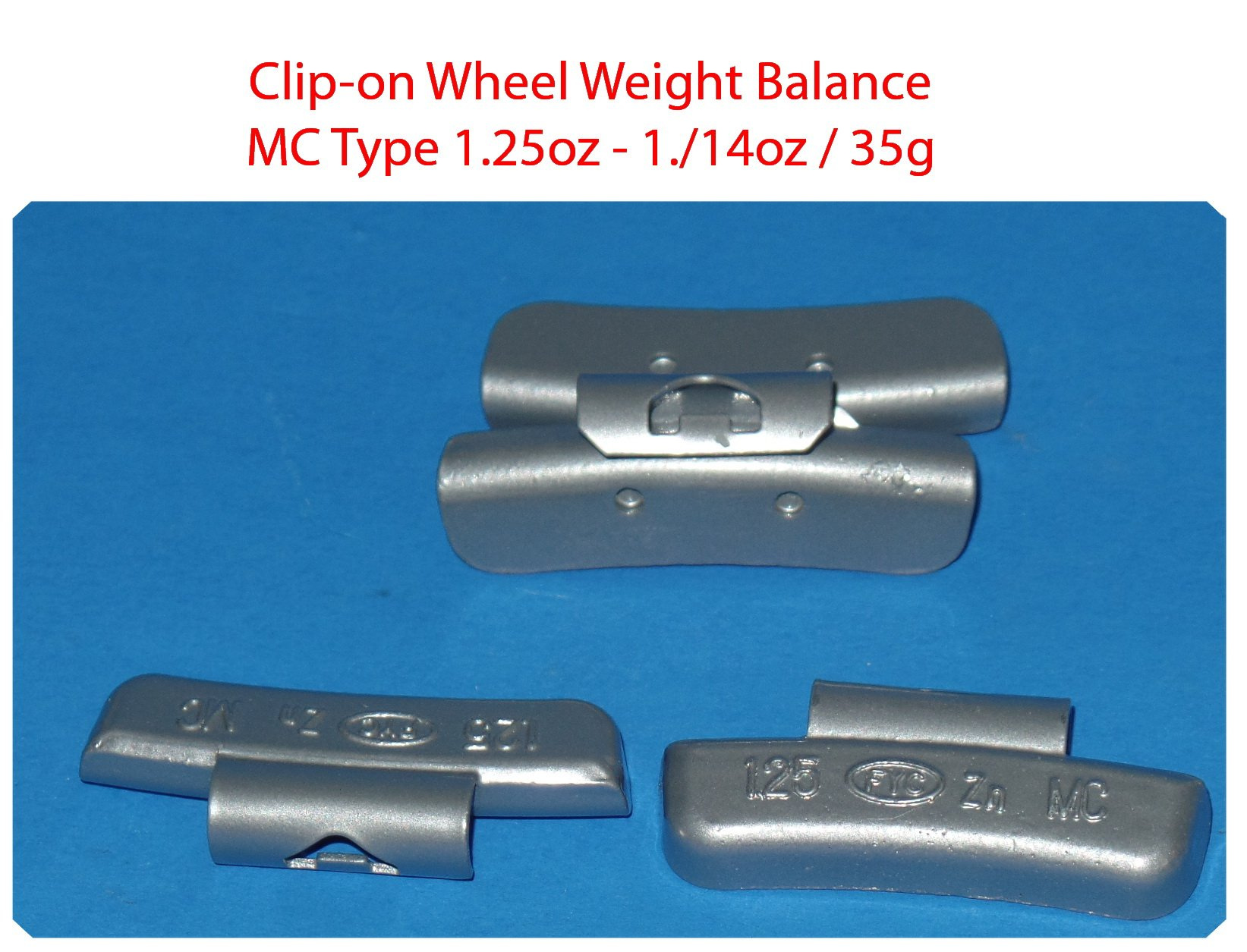 (1000 Pieces) ZN CLIP-ON WHEEL WEIGHT BALANCE 1.25 1.1/4oz MC Type Total 1250.00oz (Use for All Types of Alloy wheels On Passenger Cars , Trucks , Vans & Motorcycles) by VPro (Image #3)