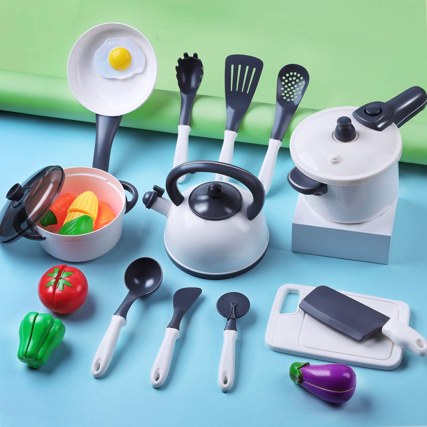 iPlay, iLearn Kids Kitchen Accessories Playset, Pretend Play Cooking Set, Toy Pots N Pans, Cookware, Utensils, Vegetables, Birthday Gift for 3 4 5 Years Old Baby Infant Toddlers Boys Girls Children