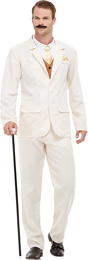 1920s Men's Fashion UK | Peaky Blinders Clothing Smiffys 50724L Roaring 20s Gent Costume Men White L - Size 42-44